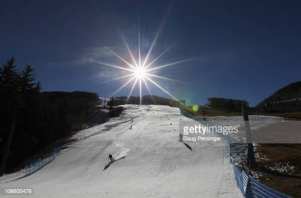 The US Alpine Ski Team makes use snow made by the automated snow making system as they train on Golden Eagle at the Vail Resort on November 6 2010 in...