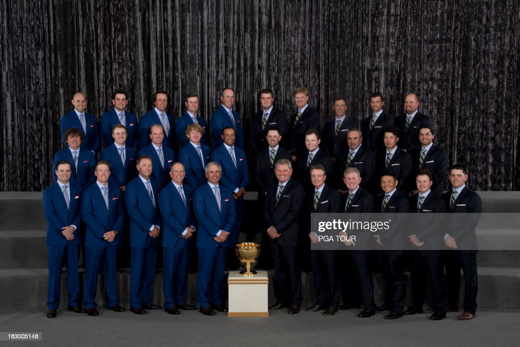 The U.S and International Teams pose for their formal team photo prior to the Opening Ceremony for The Presidents Cup on October 2, 2013 in Columbus, Ohio.