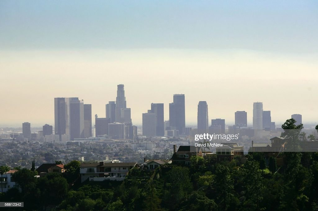 The US Bank Tower formerly known as the Library Tower is seen as the tallest on the downtown skyline amid smoke from wildfires in Orange and Los...