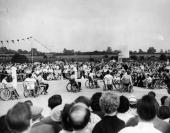 The basket ball match between USA and The Netherlands the US team is seen scoring here in the 'Olympic Games' at the Spinal Injury Centre Stoke...