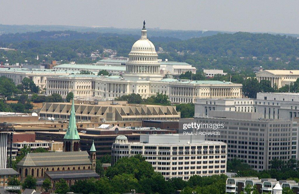 The Us Capital And The Washington Dc Skyline Are Seen