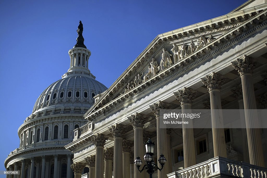 The US Capitol and US Senate chamber are shown December 23 2009 in Washington DC The US Senate is expected to vote on final passage of their national...