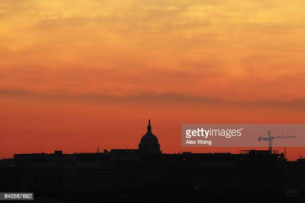 The US Capitol is seen during the morning hours September 11 2017 in Washington DC The nation marked the 16th anniversary of the 9/11 terror attacks...