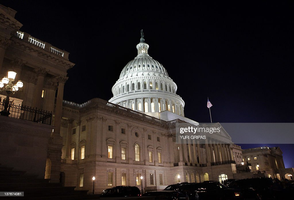 The US Capitol is seen during US President Barack Obama's State of the Union address in Washington on January 24, 2012.