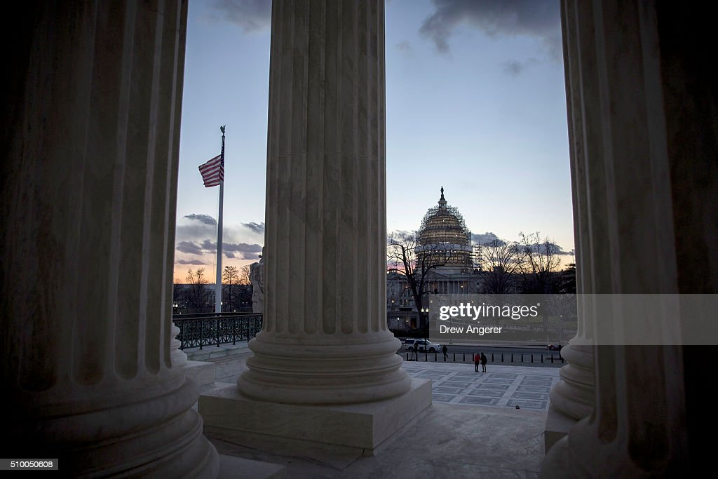 The U.S. Capitol is seen from the U.S. Supreme Court at dusk February 13, 2016 in Washington, DC. Supreme Court Justice Antonin died on Saturday.