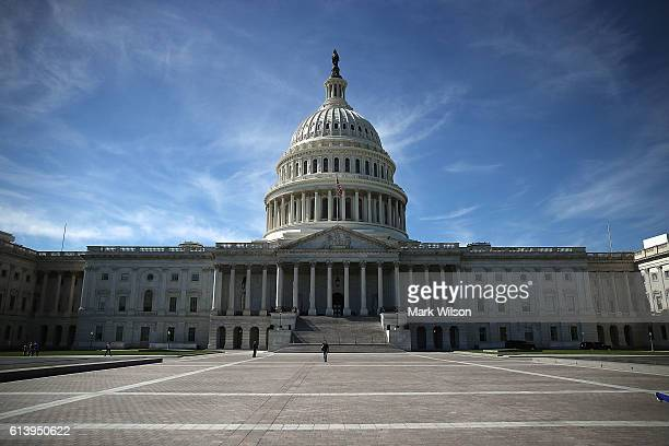 The US Capitol is shown October 11 2016 in Washington DC House and Senate Republicans are in a close race with Democrats to keep control of both...