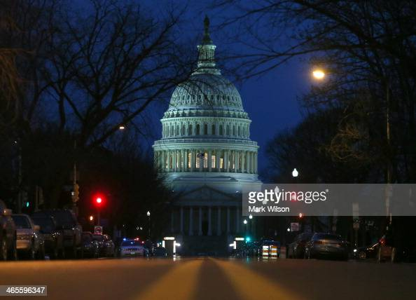 The US Capitol is shown on the morning of US President Barack Obama's State of the Union address before a joint session of Congress on January 28...