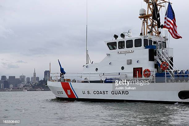 The US Coast Guard Cutter Hawksbill patrols San Francisco Bay on March 7 2013 in San Francisco California The US Coast Guard is facing over $400...