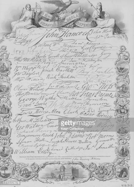 The US Declaration of Independence including the signitures of John Hancock President of the Continental Congress and two future presidents Thomas...
