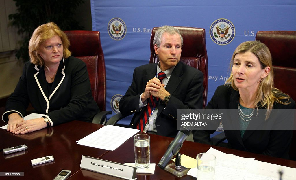 The US delegation including Anne C. Richard(L), assistant secretary for population, refugees and migration, Robert Ford(C), former ambassador to Syria, and Nancy Lindborg(R) USAID assistant administrator for the Bureau for Democracy, hold a press conference at the US embassy in Ankara, a day after meeting Syrian refugees in a Turkish border town on January 25, 2013 AFP PHOTO/ADEM ALTAN