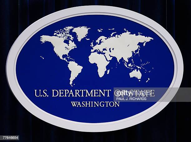 The US Department of State logo is displayed inside the media briefing room 01 November 2007 at the US Department of State in Washington DC AFP...