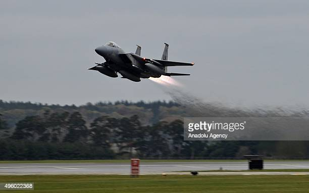 The US deploys six F15 fighters jets to the Incirlik Air Base in Adana Turkey as a part of Washington's adjustments to an antiDaesh campaign on...