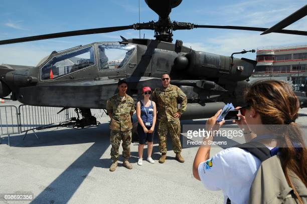 The US dod Boeing helicopter Apache is exhibited during the 52nd Paris Air Show at Le Bourget on June 20 2017 in Le Bourget France The Air Show is...
