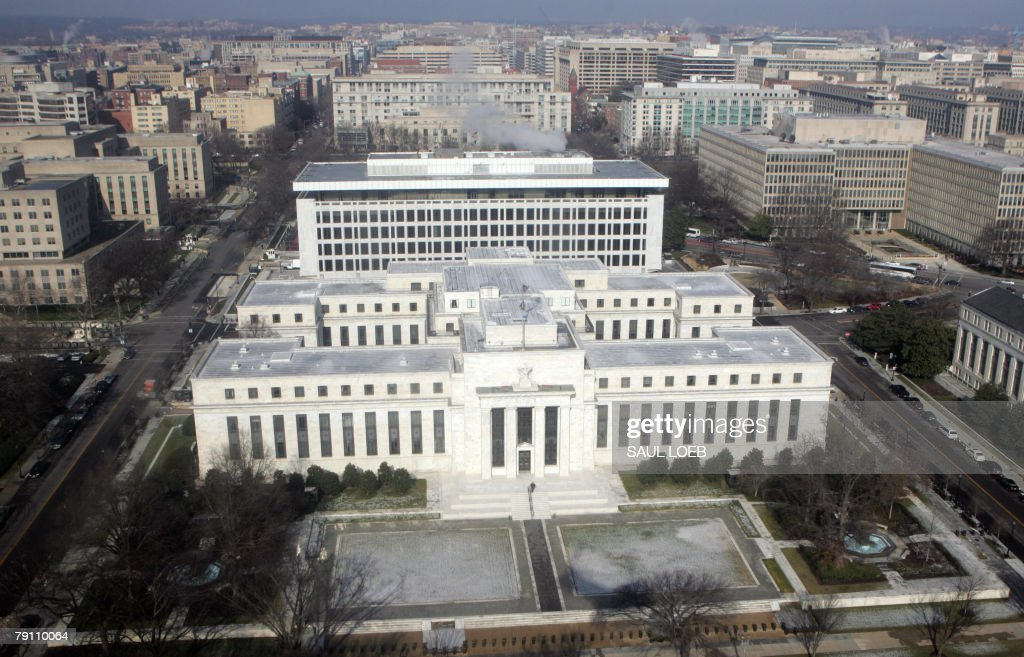 The US Federal Reserve Building is seen from the air over Washington DC 18 January 2008 President George W Bush called Friday for Congress to act...