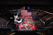 The US flag hangs inside the Quicken Loans Arena a day before the start of the Republican National Convention on July 17 2016 in Cleveland Ohio The...
