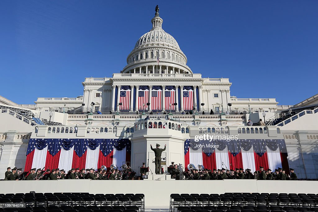 The U.S Marine Band reherses at the U.S. Capitol building during preparations for U.S. President Barack Obama's second inauguration on January 20, 2013 in Washington, DC. Both Obama and U.S. Vice President Joe Biden will be officially sworn in today with a public ceremony for the President taking place on January 21.