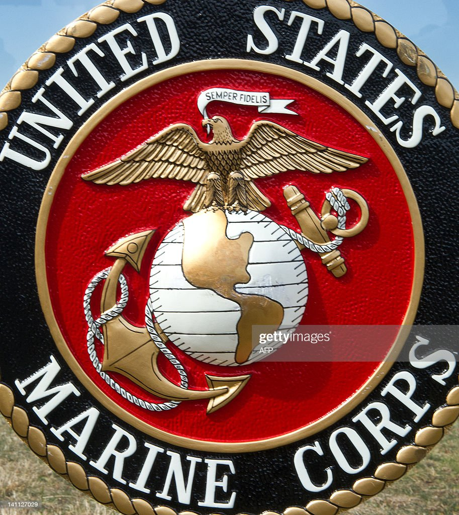 The US Marine Corps logo is seen March 9th at the US Marine Corps Base Quantico shortly before USMC officials deliver a briefing on the Active Denial...