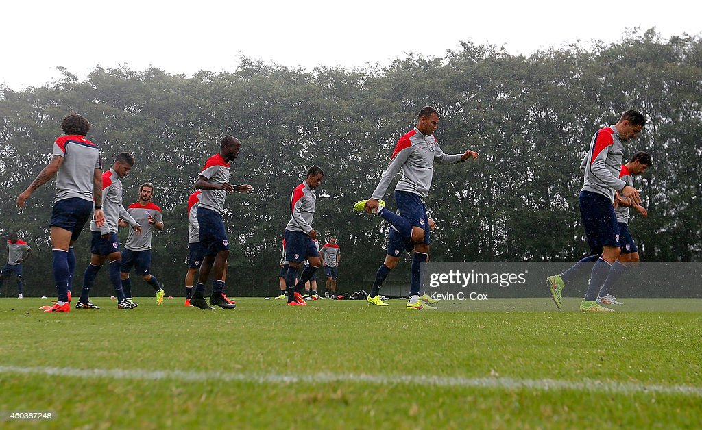 The US Men's National Team stretches during their training session at Sao Paulo FC on June 10, 2014 in Sao Paulo, Brazil.
