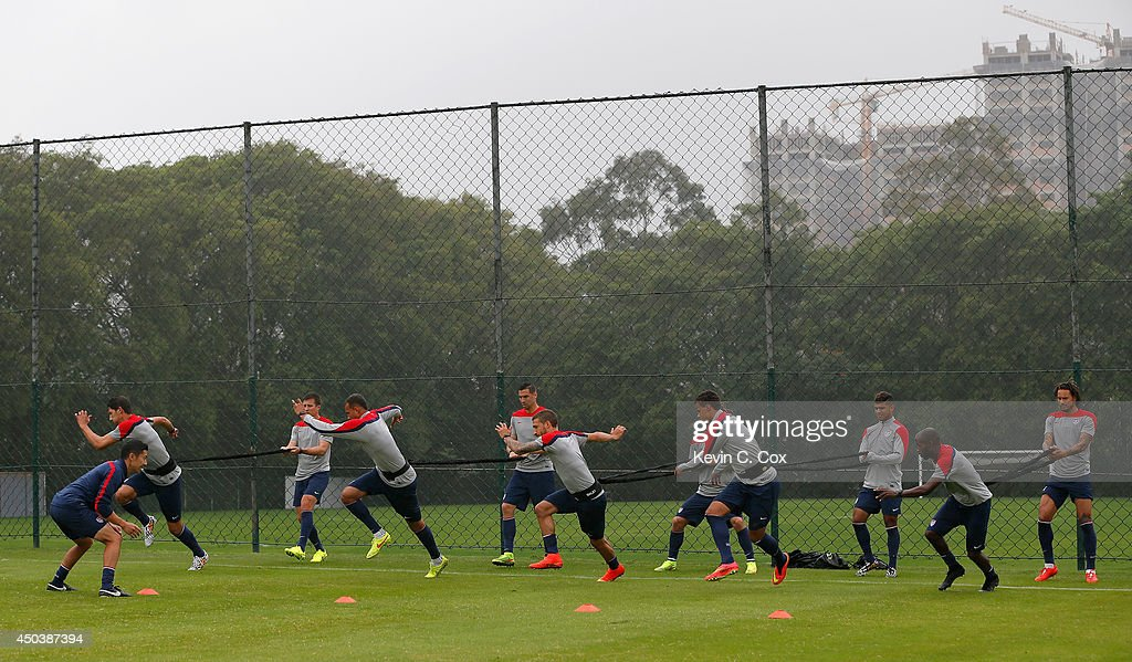 The US Men's National Team works out during their training session at Sao Paulo FC on June 10, 2014 in Sao Paulo, Brazil.