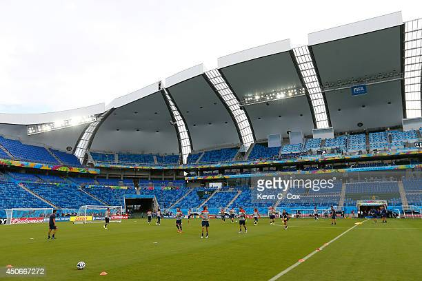 The US Men's National Team works out during training at Estadio das Dunas on June 15 2014 in Natal Brazil
