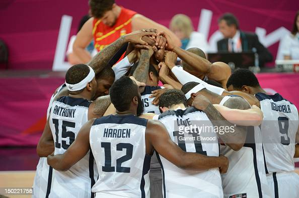 The US Men's Senior National Team huddles against Spain after their Men's Gold Medal Basketball Game on Day 16 of the London 2012 Olympic Games at...