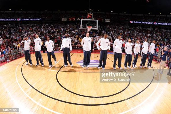 The US Men's Senior National Team stands for the National Anthem prior to the game against the Dominican Republic during an exhibition game at the...