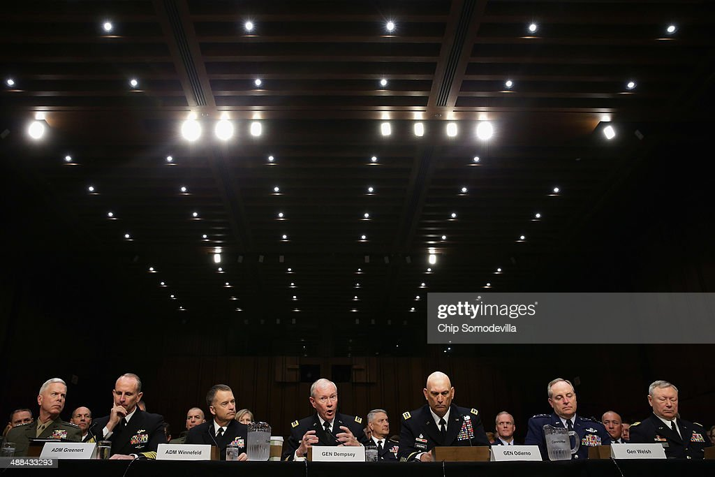 The U.S. military Joint Chiefs of Staff (L-R) Commandant of the Marine Corps Gen. James Amos, Chief of Naval Operations Adm. Jonathan Greenert, Vice Chairman of the Joint Chiefs of Staff Adm. James Winnefeld, Chairman of the Joint Chiefs of Staff Gen. <a gi-track='captionPersonalityLinkClicked' href=/galleries/search?phrase=Martin+Dempsey&family=editorial&specificpeople=2116621 ng-click='$event.stopPropagation()'>Martin Dempsey</a>, Chief of Staff of the Army Gen. Raymond Odierno, Chief of Staff of the Air Force Gen. Mark Welsh III and Chief of the National Guard Bureau Gen. Frank Grass testify before the Senate Armed Services Committee on Capitol Hill May 6, 2014 in Washington, DC. Joined by senior enlisted officers, the Joint Chiefs testified about proposals relating to military compensation.