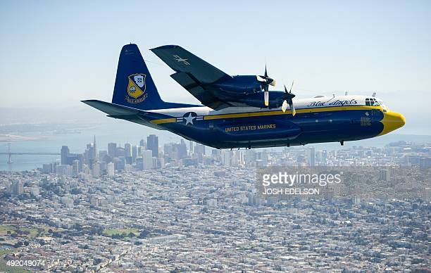 The US Navy Blue Angels' C130T Hercules supply plane nicknamed 'Fat Albert' flies over San Francisco California for Fleet Week on October 9 2015 'Fat...