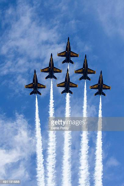 The US Navy Blue Angels do a flyover before a baseball game between the San Diego Padres and the Milwaukee Brewers at Petco Park October 1 2015 in...