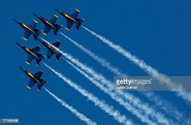 The US Navy Blue Angels fly in formation during a practice session for San Francisco Fleet Week October 4 2007 in San Francisco California The Blue...