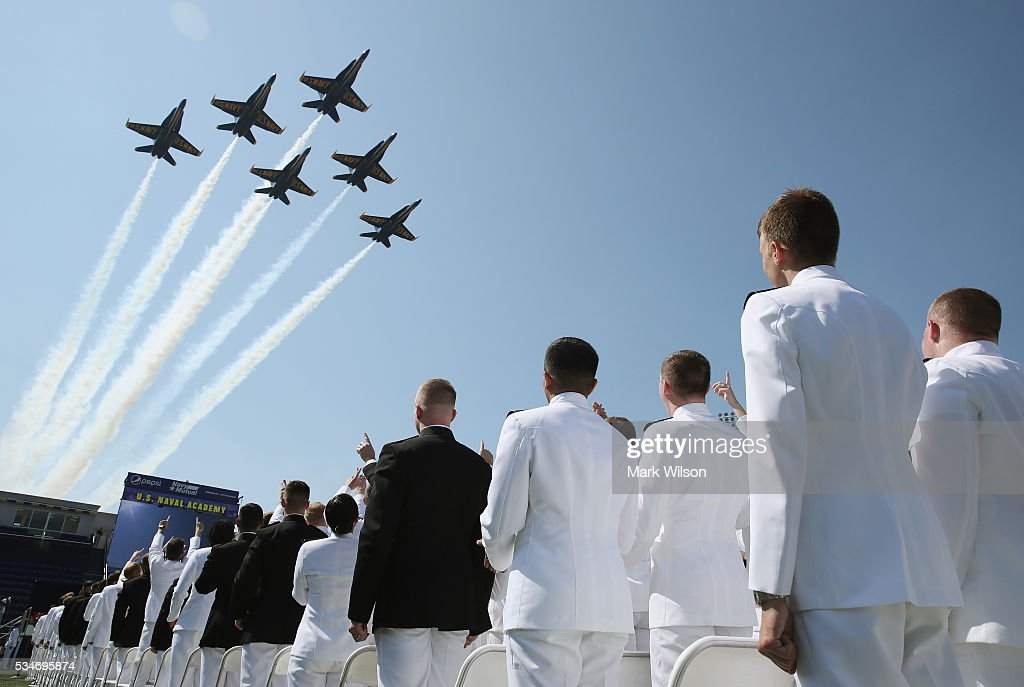 The U.S. Navy Blue Angels fly over graduation ceremonies at the U.S. Naval Academy May 27, 2016 in Annapolis, Maryland. U.S. Secretary of Defense Ashton Carter is the commencement speaker for this year's graduating class.
