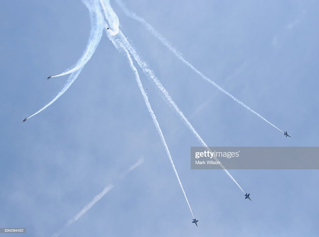The US Navy Blue Angels perform maneuvers over the US Naval Academy May 25, 2016 in Annapolis, Maryland. Once a year the Blue Angels put on a show over the Academy during commission week, and will do a flyover during graduation ceremonies on Friday.