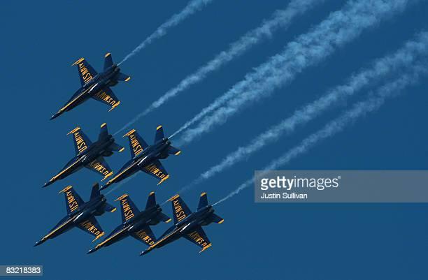The US Navy Blue Angels pilots practice a Fleet Week performance October 10 2008 in San Francisco San Francisco kicks off its annual Fleet Week...