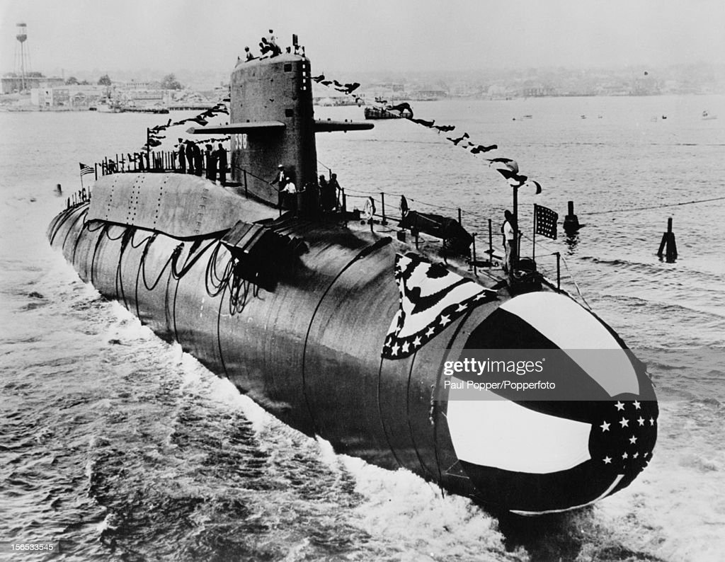 The US Navy submarine USS George Washington (SSBN-598) is launched at the Electric Boat Division of General Dynamics, Groton, Connecticut, 9th June 1959. Armed with Polaris missiles, the vessel is the United States' first nuclear ballistic missile submarine.