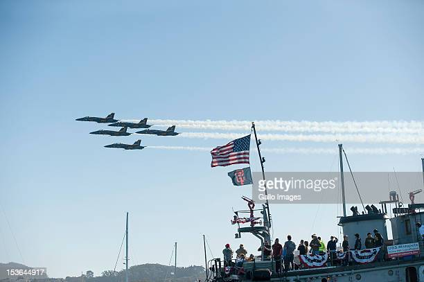 The US Navy's Blue Angels during Fleet Week fly over the Americas Cup race course on Day 4 of the America's Cup World Series on 06 October in San...