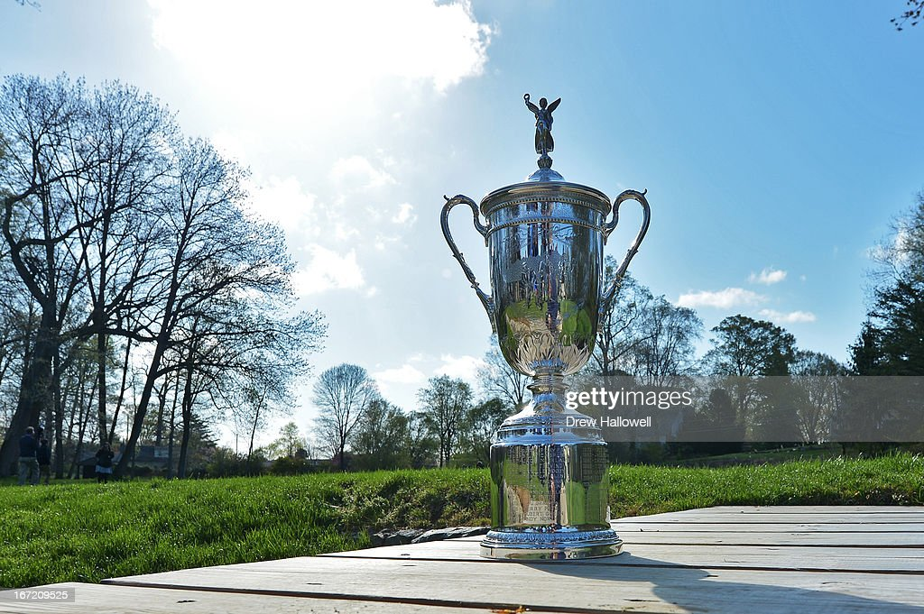 The U.S. Open Championship Trophy rests on the foot bridge to the 11th hole of the East Course at Merion Golf Club on April 22, 2013 in Ardmore, Pennsylvania. Merion Golf Club is the site for the 2013 U.S. Open that will be played on June 13-16.