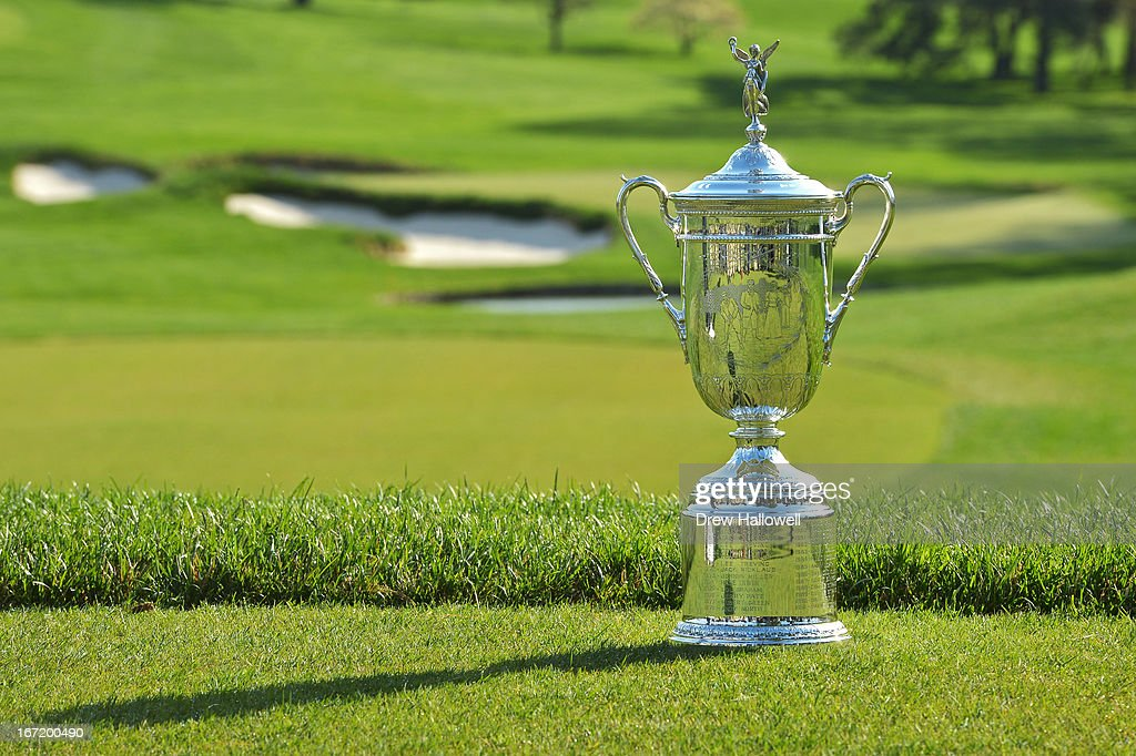 The U.S. Open Championship Trophy rests on the ninth teebox of the East Course at Merion Golf Club on April 22, 2013 in Ardmore, Pennsylvania. Merion Golf Club is the site for the 2013 U.S. Open that will be played on June 13-16.