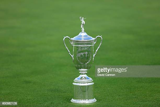 The US Open Trophy during the USGA Media Day at Erin Hills Golf Course the venue for the 2017 US Open Championship on August 29 2016 in Erin Wisconsin