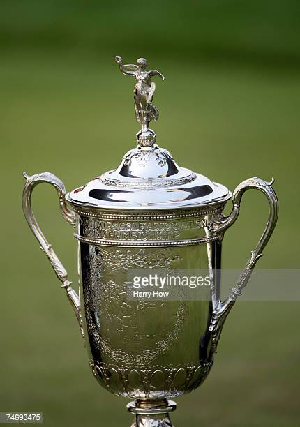 The US Open trophy is seen on the green after Angel Cabrera of Argentina wins the Championship by onestroke at the 107th US Open Championship at...