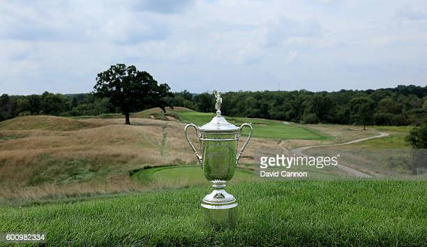 The US Open Trophy on the 15th tee during the USGA Media Day at Erin Hills Golf Course the venue for the 2017 US Open Championship on August 29 2016...