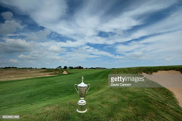 The US Open Trophy on the approach to the 18th green during the USGA Media Day at Erin Hills Golf Course the venue for the 2017 US Open Championship...