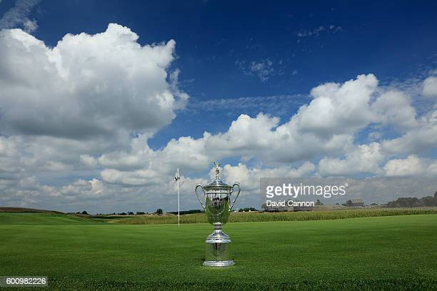 The US Open Trophy on the first green during the USGA Media Day at Erin Hills Golf Course the venue for the 2017 US Open Championship on August 29...