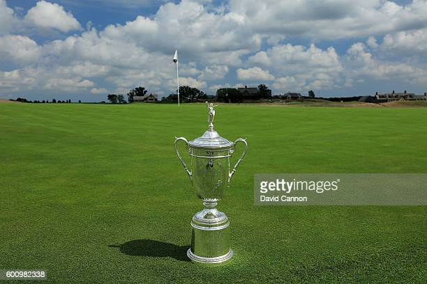 The US Open Trophy on the ninth green during the USGA Media Day at Erin Hills Golf Course the venue for the 2017 US Open Championship on August 29...