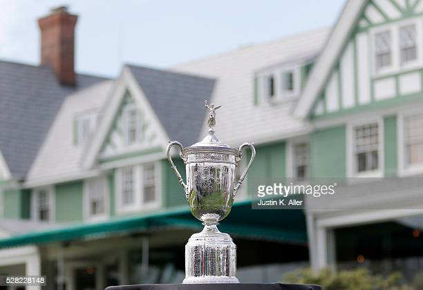 The US Open Trophy seen at Oakmont Country Club on May 4 2016 in Oakmont Pennsylvania