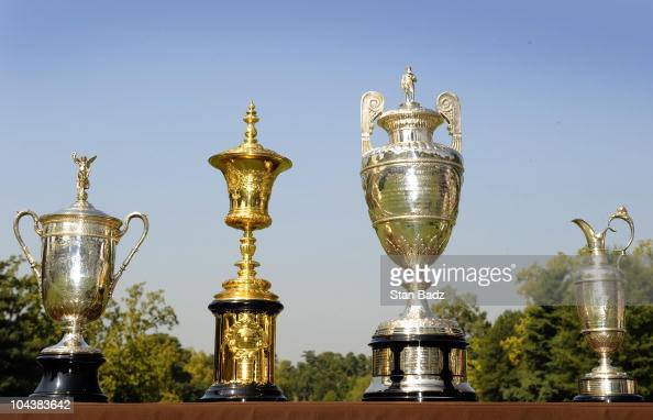 The US Open trophy US Amateur trophy British Amateur trophy and British Open trophy are seen in honor of Bobby Jones' 1930 Grand Slam during the...