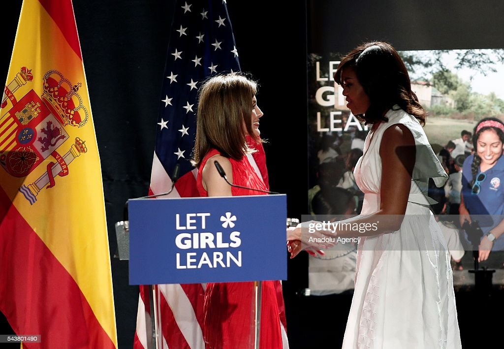 The US President Barrack Obama' s wife Michelle Obama (R) and Queen Letizia (L) of Spain make presentation of a project named 'Let Girls Learn' at Matadero Education Center in Madrid, Spain on June 30, 2016.