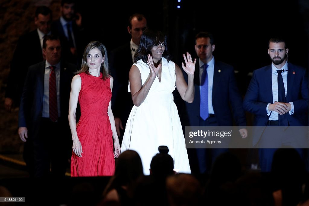 The US President Barrack Obama' s wife Michelle Obama (R) and Queen Letizia (L) of Spain arrive to make presentation of a project named 'Let Girls Learn' at Matadero Education Center in Madrid, Spain on June 30, 2016.