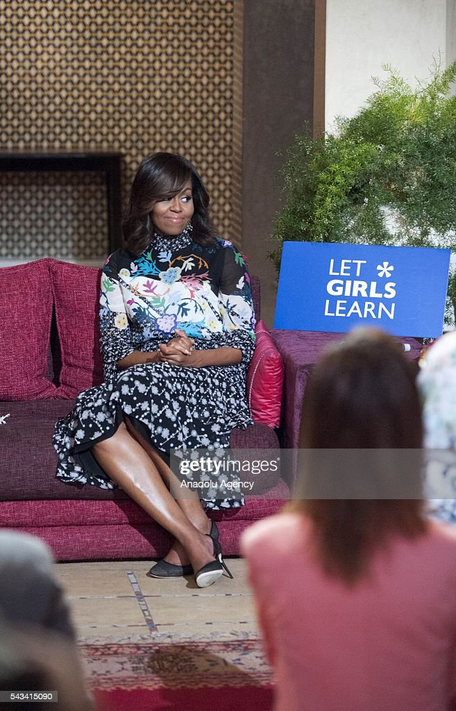 The US President Barrack Obama' s wife Michelle Obama attends a program held for girls whose education is interrupted in Marrakech, Morocco on June 28, 2016.