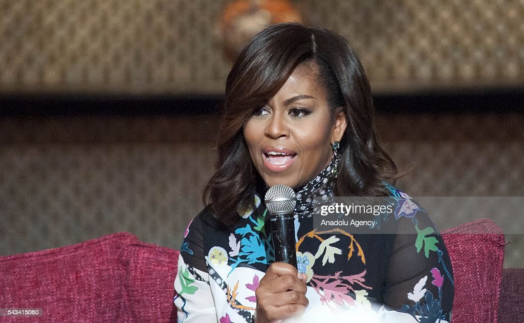 The US President Barrack Obama' s wife Michelle Obama delivers a speech during a program held for girls whose education is interrupted in Marrakech, Morocco on June 28, 2016.