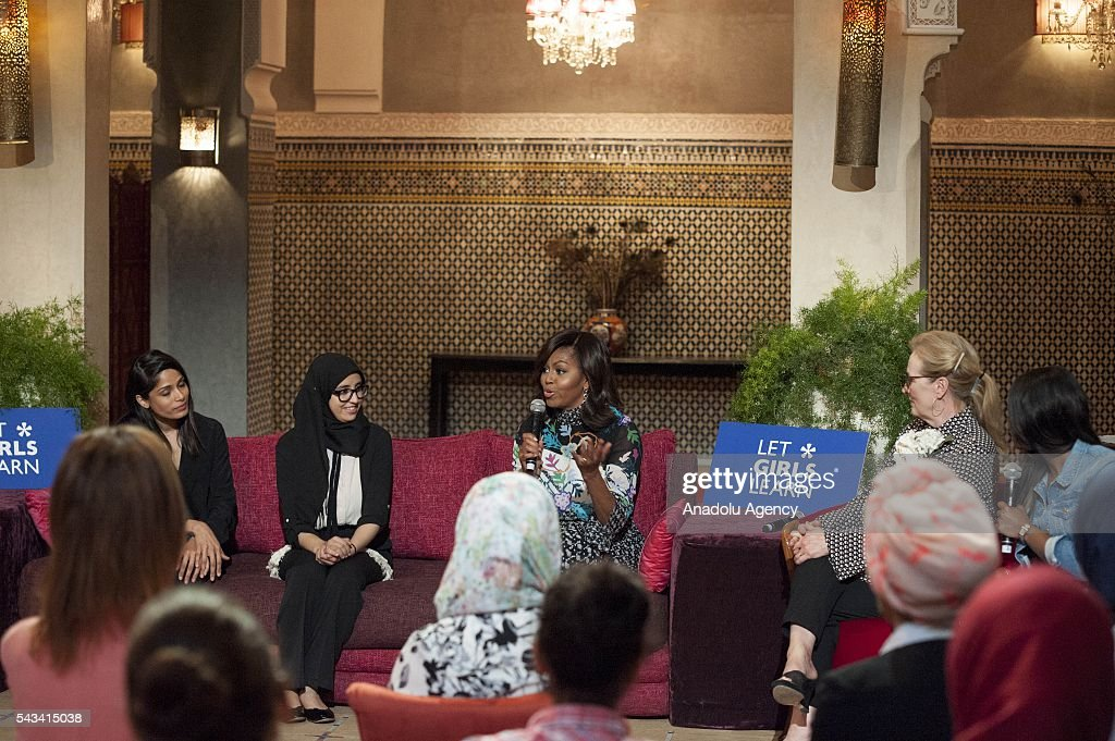 The US President Barrack Obama' s wife Michelle Obama (3rd L), Hindu actress Freida Pinto (L), American actress Meryl Streep (R) and Moroccan student Karima Lokos (2nd L) attend a program held for girls whose education is interrupted in Marrakech, Morocco on June 28, 2016.